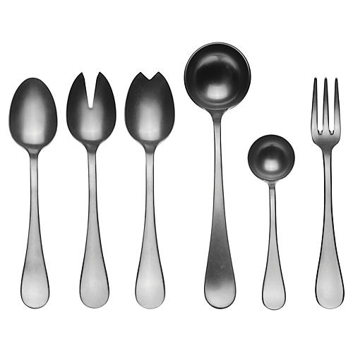 Asst. of 7 Matte VII Serving Set, Charcoal