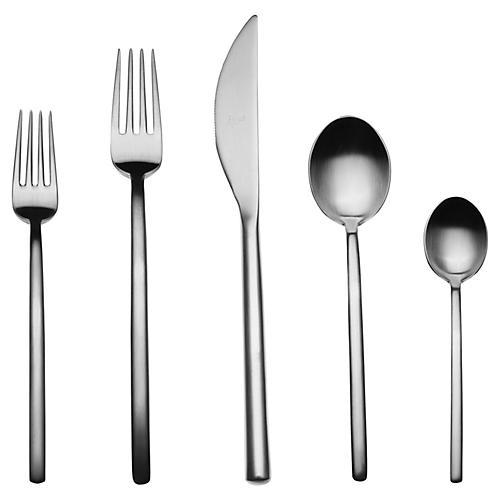 20-Pc Due Cutlery Set, Dark Gray
