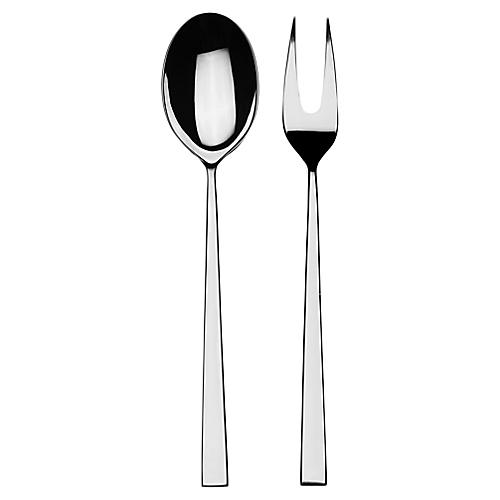 Asst. of 2 Atena Serving Set, Silver