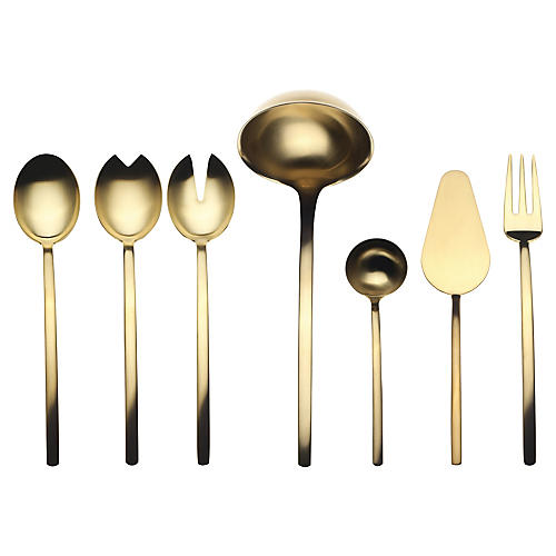 Asst. of 7 Due Ice Oro Serving Set, Gold