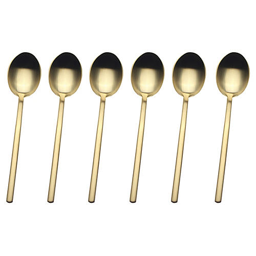 S/6 Due Coffee Spoons, Gold