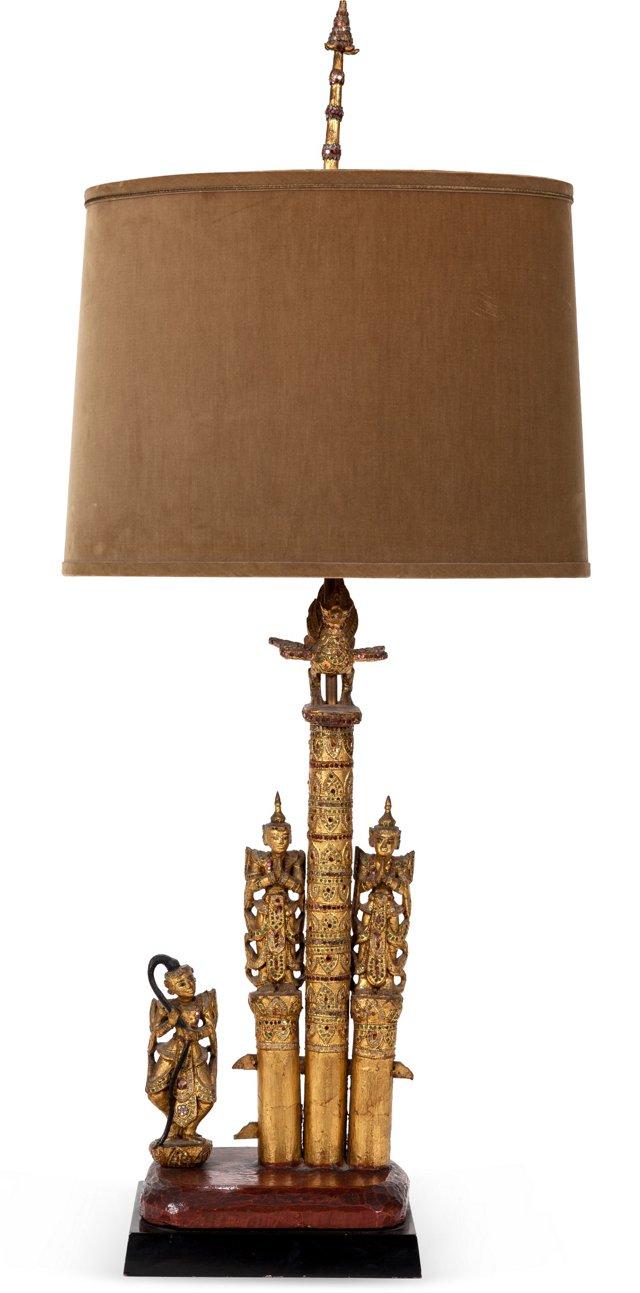 Custom Burmese Gilt Carving Table Lamp