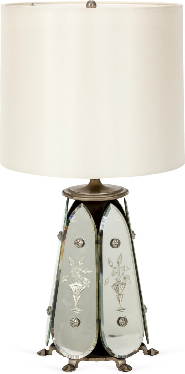 Art Deco Mirrored Table Lamp