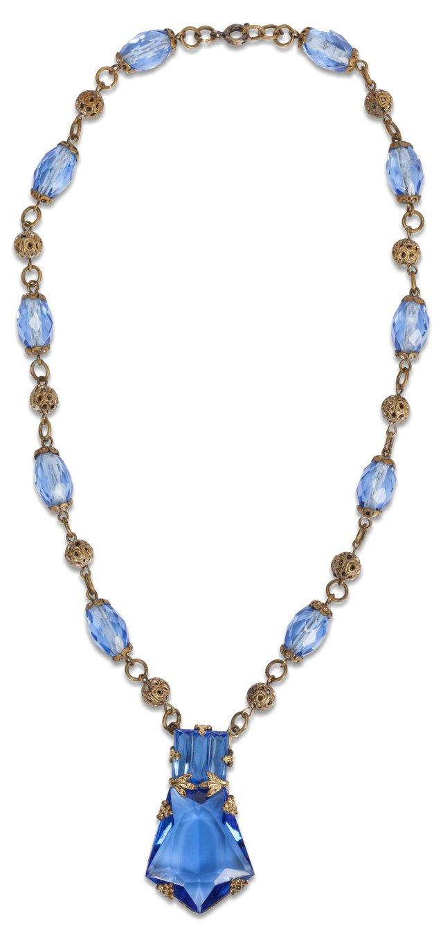 Czech Blue Crystal Necklace