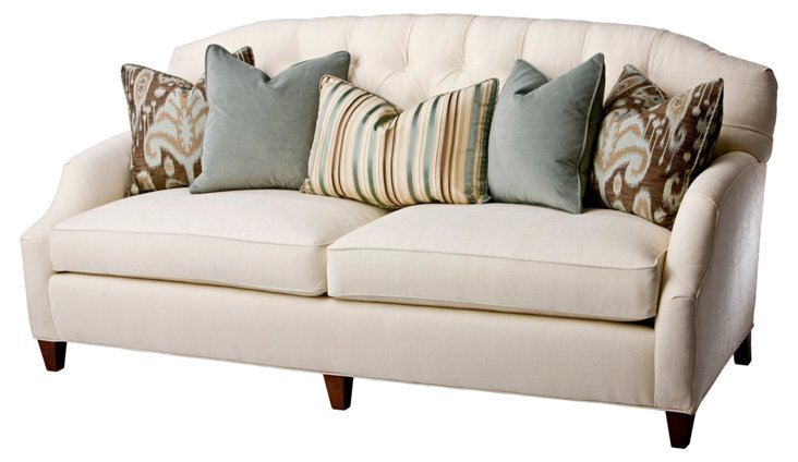 "Avignon 84"" Tufted-Back Sofa, Ecru"