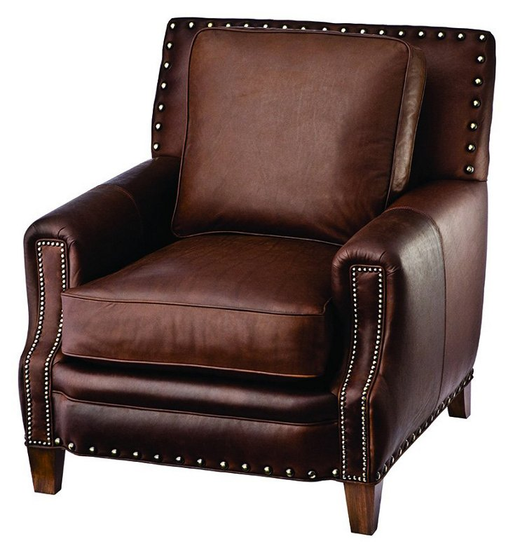 Trend Leather Club Chair, Chocolate