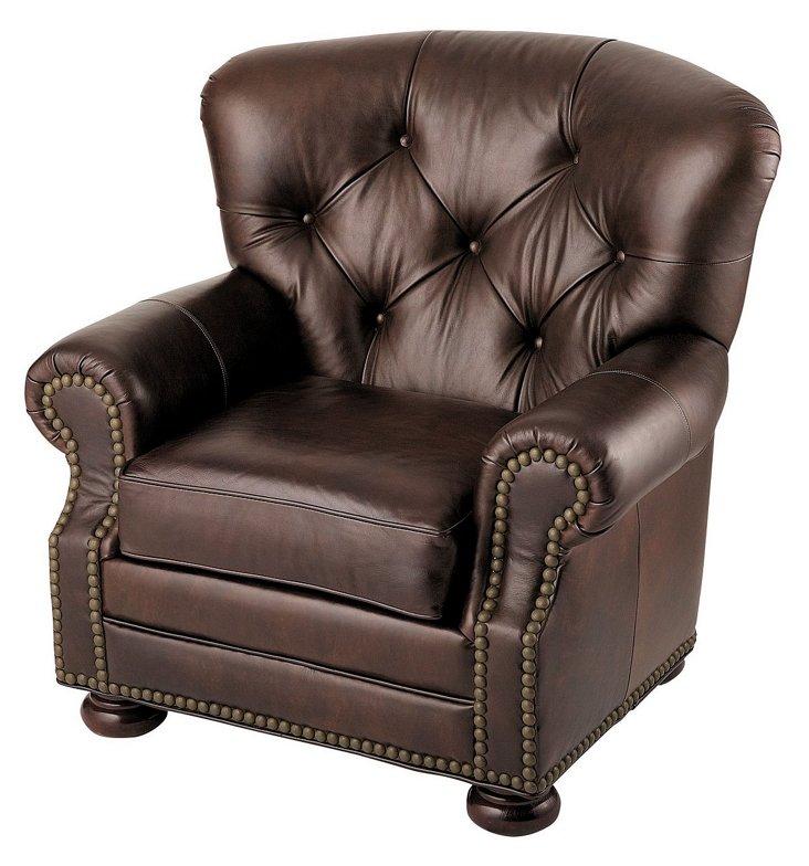 Gitana Tufted Leather Chair, Brown