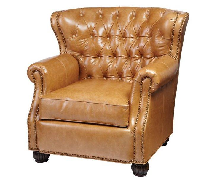 Thomas Leather Chair, Brown Pumpkin