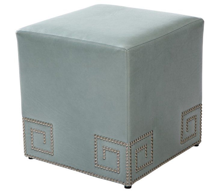 Gibson Leather Greek Ottoman, Blue