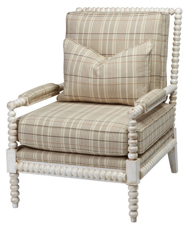 Helen Plaid Spindle Chair, Beige