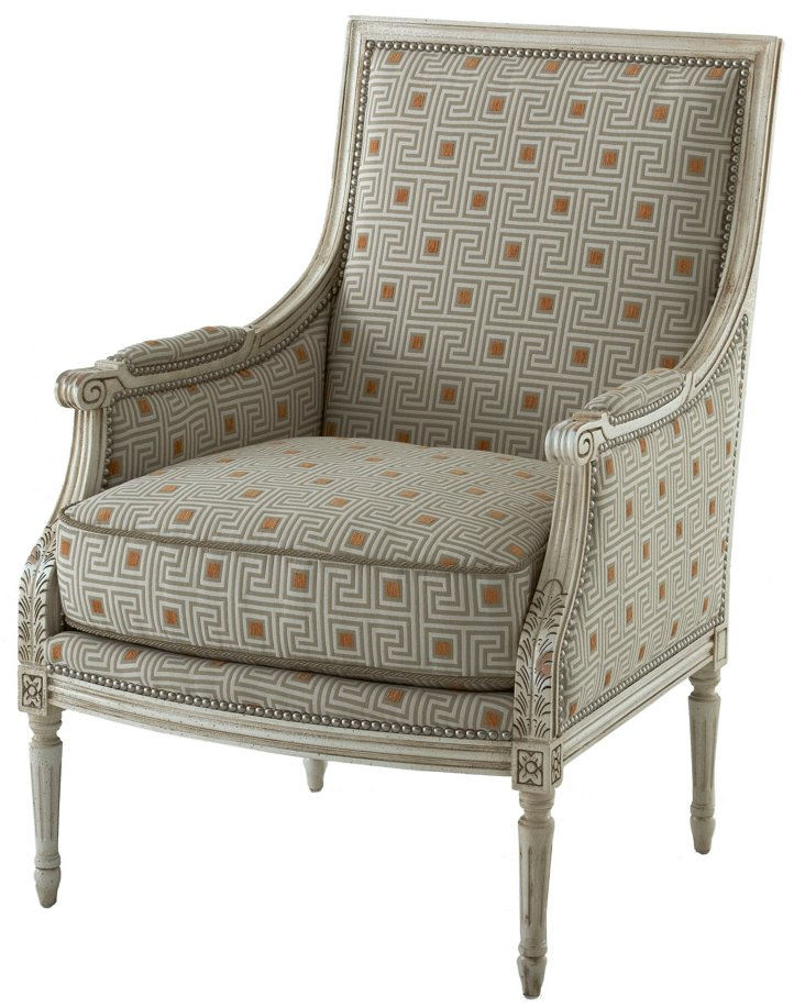 James Accent Chair, Gray/Orange Grecian
