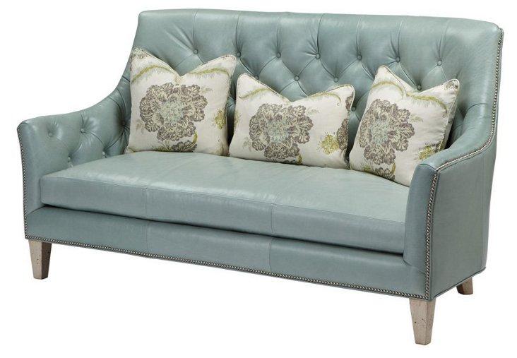 "Jude 74"" Tufted Leather Sofa, Misty Blue"