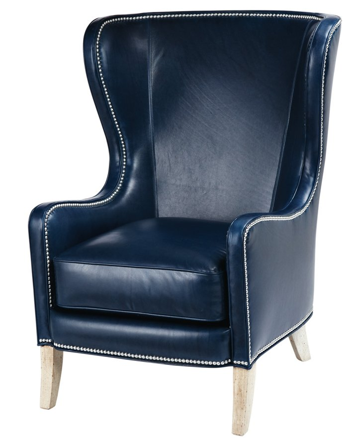 Dempsey Leather Chair, Navy
