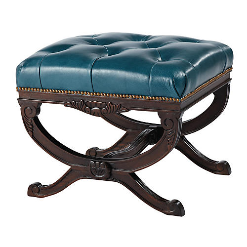 Stafford Tufted Ottoman, Teal Leather