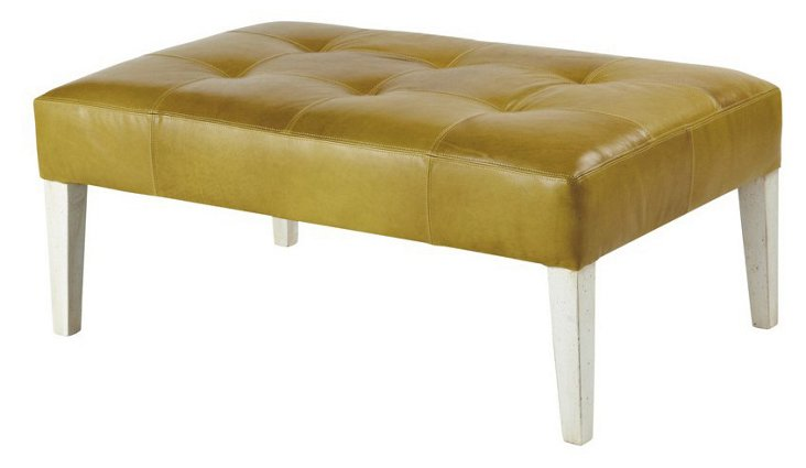 Tara Tufted Leather Bench, Moss