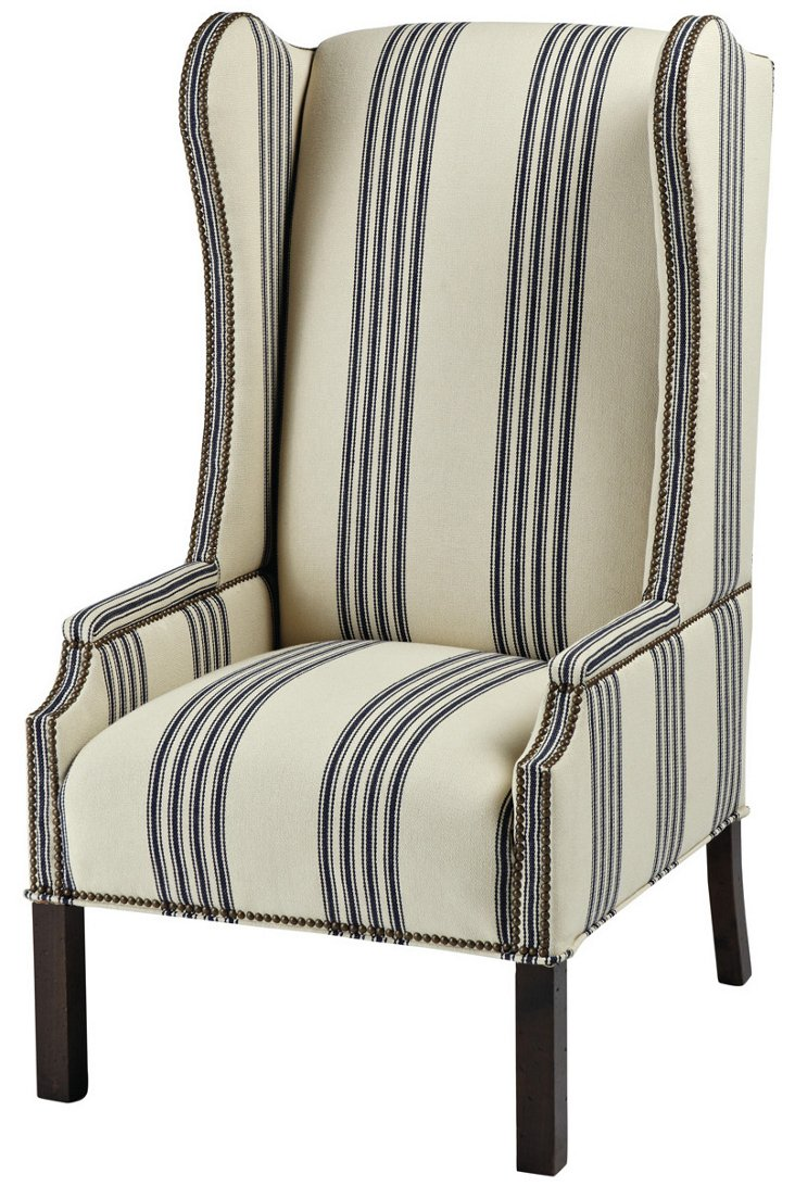Cora Wingback Chair, Ivory/Navy
