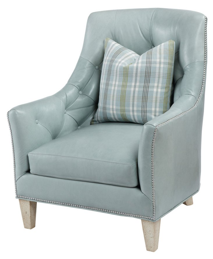 Dierdre Tufted Leather Chair, Misty Blue