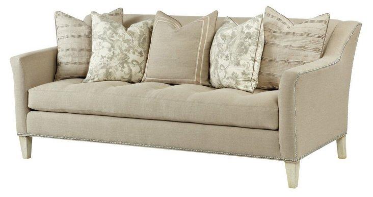 """Parson 90"""" Linen Sofa, Flax"""
