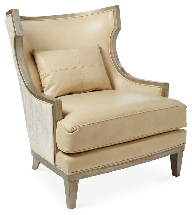 Stargo Wingback Chair, Oatmeal