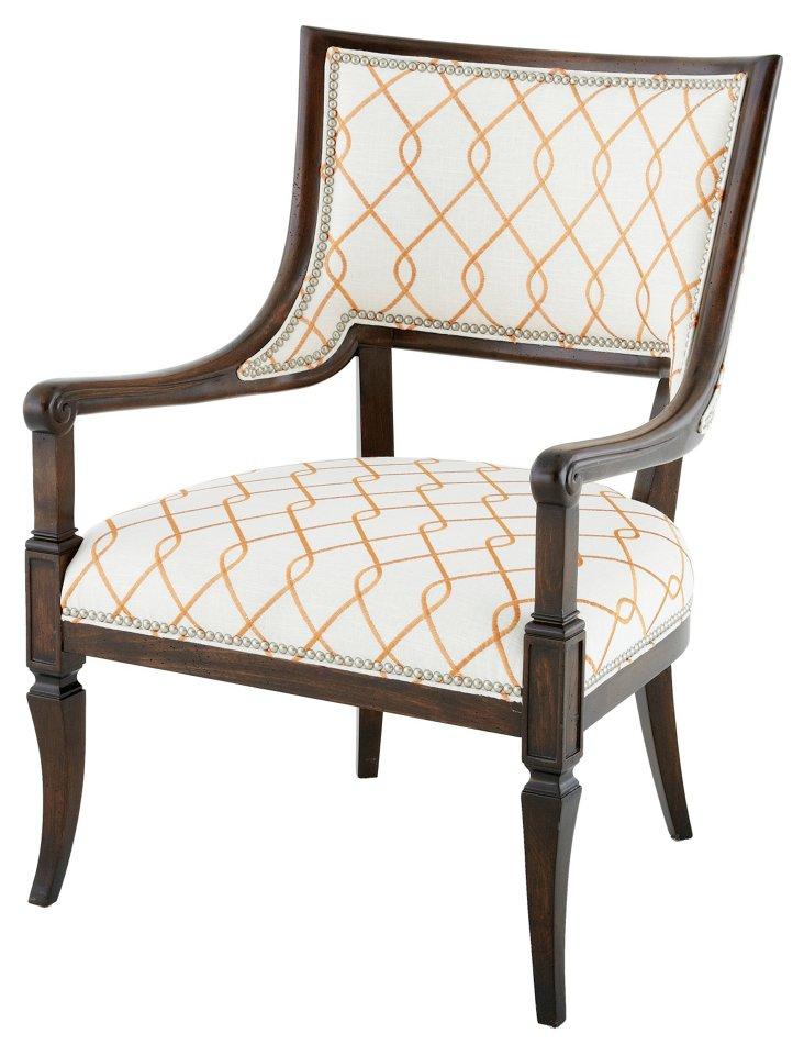 Rita Armchair, Ivory/Orange Lattice
