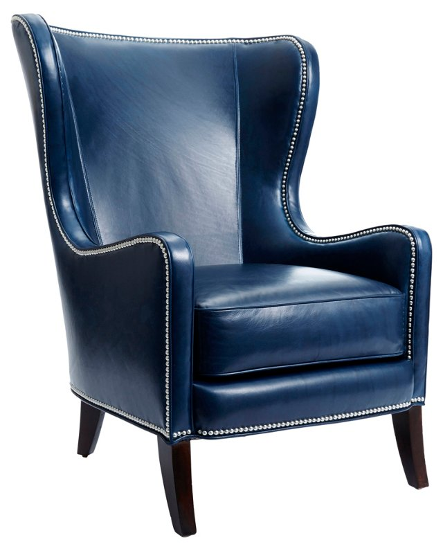 Dempsey Leather Wingback, Navy
