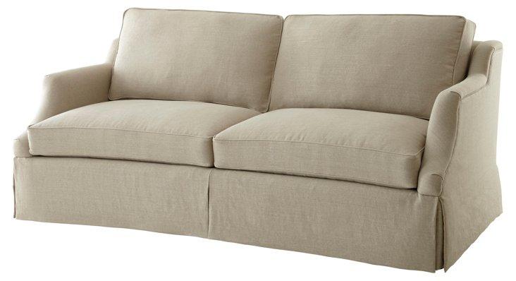 """Chelsey 86"""" Skirted Linen Sofa, Beige"""