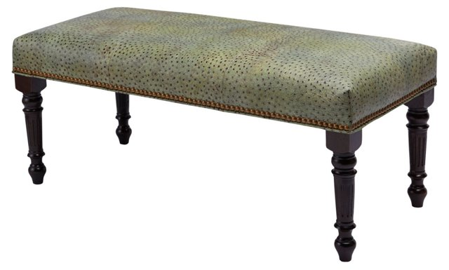"Elizabeth 47"" Leather Bench, Green"