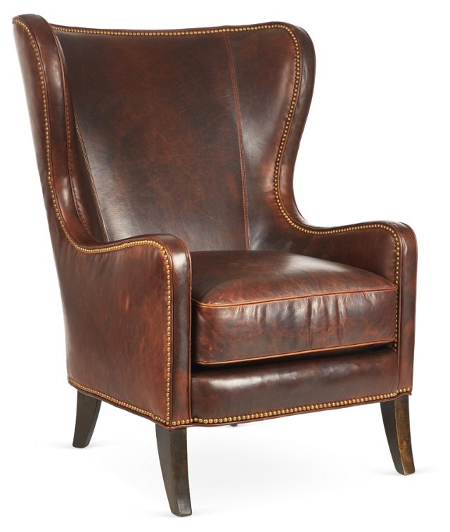 Dempsey Leather Wingback Chair, Bourbon