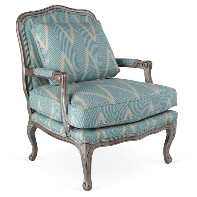 Harper Bergère, Light Blue/Ivory Chevron