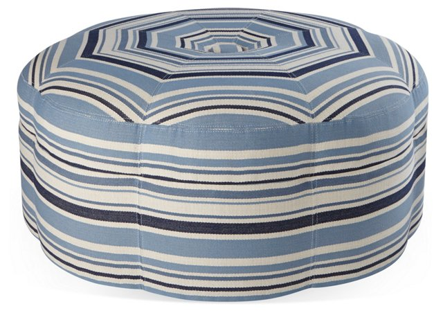 Saroya Round Ottoman, Blue