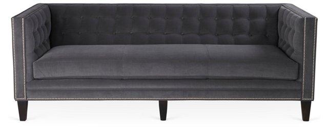 """Lindy 90"""" Tuxedo Sofa, Charcoal Velvet"""