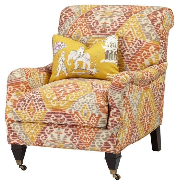 Mandalay Lounge Chair, Gold/Rust