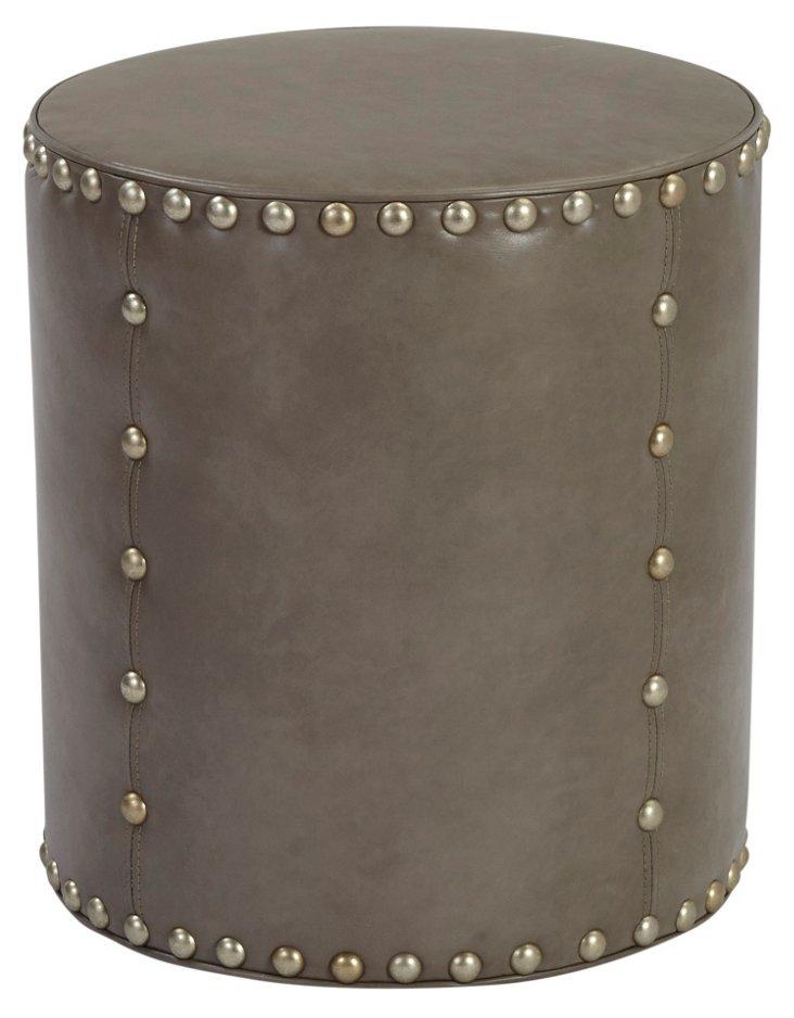 Olivia Round Leather Stool, Gray
