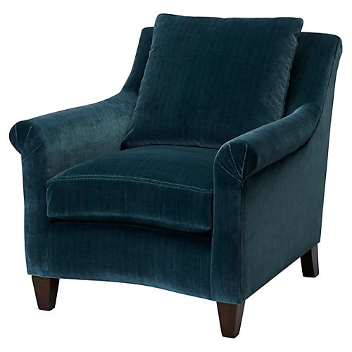 Emmet Club Chair, Teal Velvet