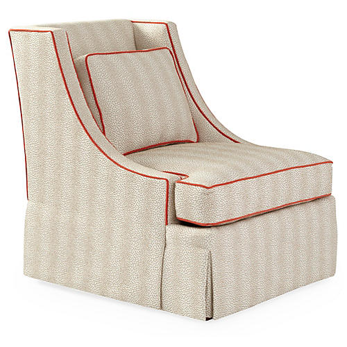 Cheryl Swivel Glider Chair, Beige Dots/Pimento