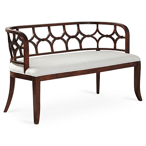 """Lily 53"""" Bench, White Linen"""