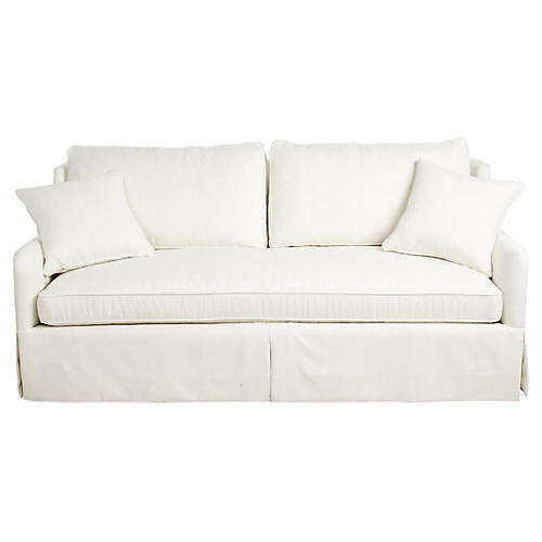 "Tory 82"" Sofa, White Crypton"