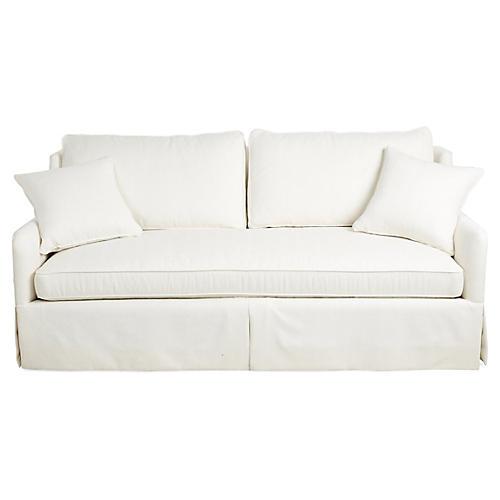 """Tory 82"""" Sofa, White Crypton"""