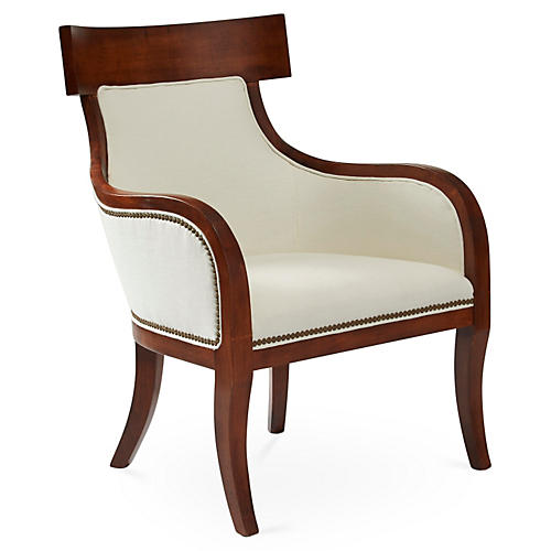 Sylvia Accent Chair, White Linen