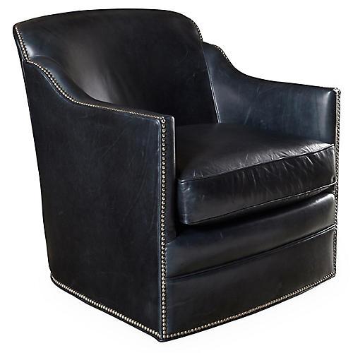 Hughes Swivel Chair, Smoke Leather