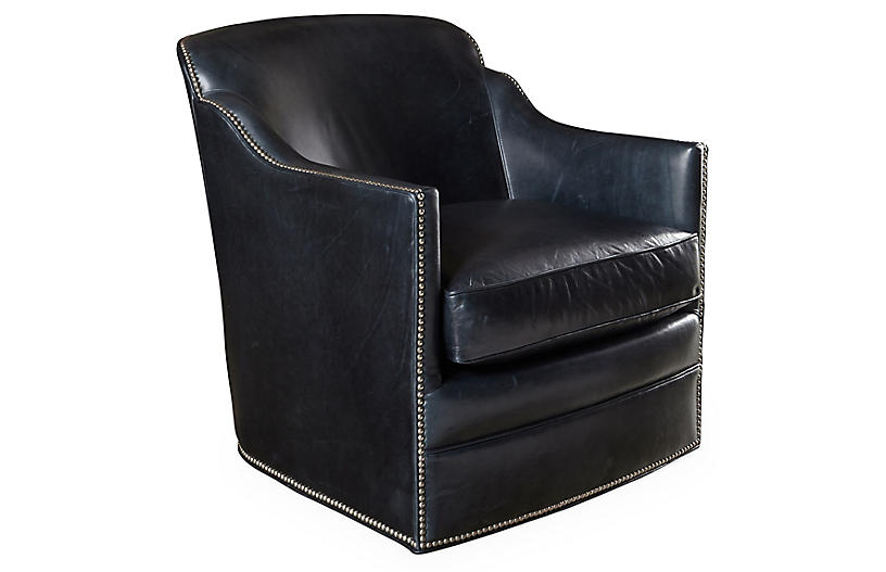 Hughes Swivel Chair, Smoke Leather