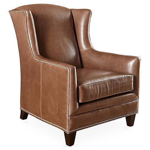 Lena Wingback Chair, Saddle Leather