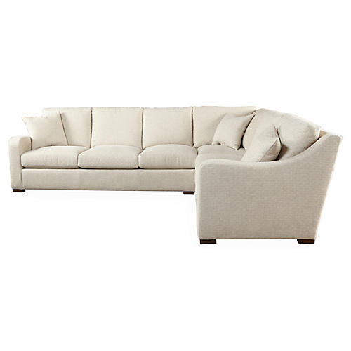 "Ceola 85"" Sectional, Cream"