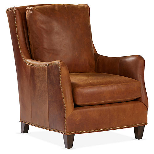 Etna Wingback Chair, Café Leather