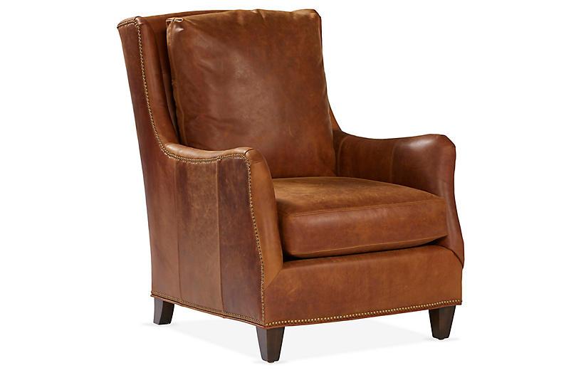 Etna Wingback Chair, Café Leather