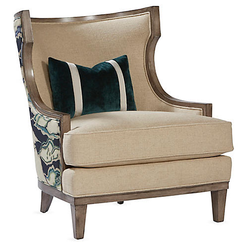 Stargo Wingback Chair, Natural/Blue