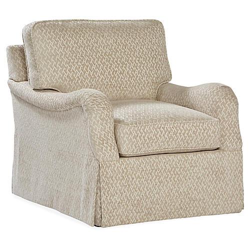 Fuller Skirted Swivel Chair, Oatmeal Maze