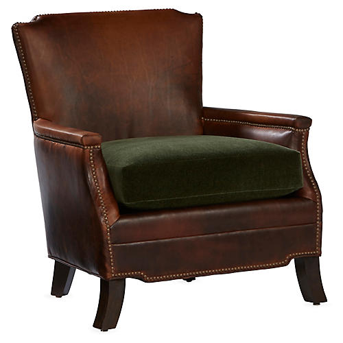 Gerry Club Chair, Cocoa Leather/Green Velvet