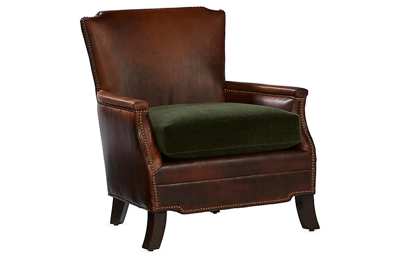 Gerry Club Chair, Cocoa Leather