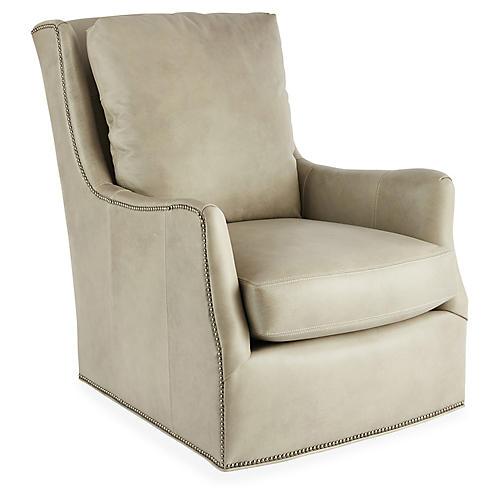 Clarke Swivel Chair, Stone Leather